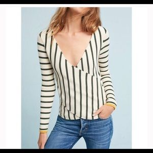 Anthropologie Moth Striped Wrap Sweater
